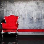 Interior design scene with a red retro armchair — Stock Photo