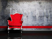 Interior design scene with a red retro armchair — Stock Photo