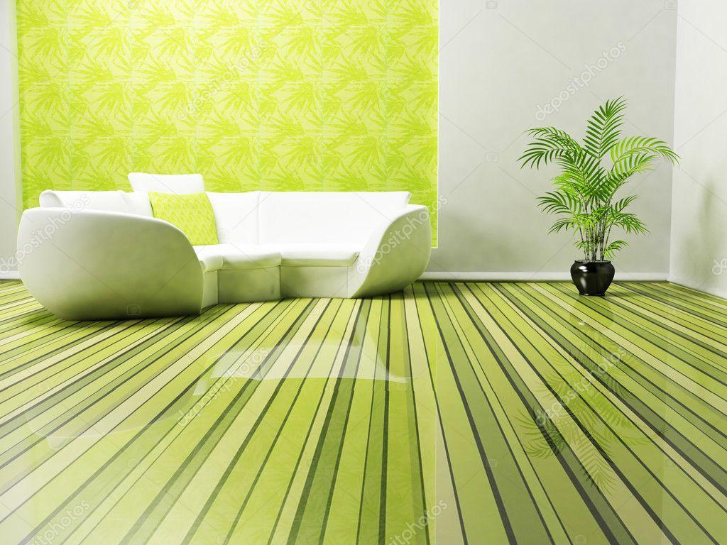 Modern inredning av vardagsrum med soffa och en växt ...