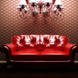A sofa and a luster in the interoir - Stock Photo