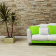 Stock Photo: Interior design with sofand plant