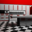 Modern kitchen interior in white and red color — 图库照片