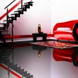 Modern  interior with a red and black sofa, a table, and a black — Stock Photo