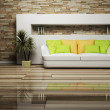 Modern interior design of living room with a sofa and a plant — Stock Photo