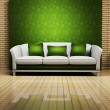 Modern interior design with a nice sofa and a plant — Stock Photo #5746950