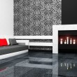 Modern  interior design of living room with a fireplase and a so — Stock Photo