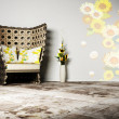 Nice interior design of living room with a wicker armchair and a — Stock Photo