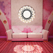 Modern  interior design of living room with a pink  sofa and a w - Stock Photo