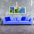 Modern interior design of living room with a blue sofa and the — Stock Photo