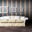 Interior design scene with a white sofa - Stock fotografie