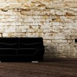 Interior design scene with the  black sofa - Stock fotografie