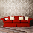 Modern  interior design of living room with a  red sofa — Stock Photo