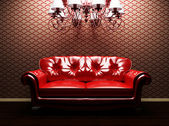 A sofa and a luster in the interoir — Foto de Stock