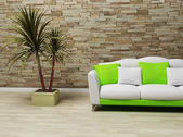 Interior design with a sofa and a plant — Stock Photo