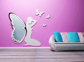 Design interior with a sofa and a mirror — Stock Photo