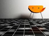 Дизайн интерьера с стула на белом фоне — Стоковое фото