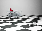 Interior design scene with a glass table and the dice — Foto Stock