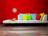 Interior design scene with a colored pillows on the sofa — Stock Photo