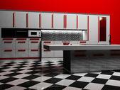 Interior da cozinha moderna na cor branca e vermelha — Fotografia Stock