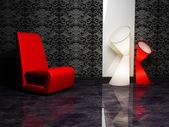 Design de interior moderno com uma poltrona e duas lâmpada de assoalho — Fotografia Stock
