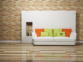 Modern interior design of living room with a sofa — Stock Photo
