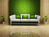 Modern interior design with a nice sofa and a plant — Stock Photo