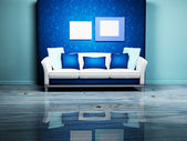 Modern interior design with a nice sofa and the pictures — Stock Photo