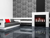 Modern interior design of living room with a fireplase and a so — Stok fotoğraf