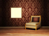 Interior design scene with an armchair and a picture — Stock Photo