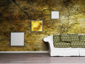 Interior design scene with a nice sofa and the pictures on the w — Stock Photo