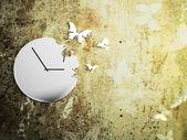 Um belo relógio no fundo retrô beautifull — Foto Stock