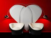 Arredamento romantico con due poltrone e due lampade — Foto Stock