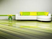 яркий интерьер дизайн гостиной — Стоковое фото