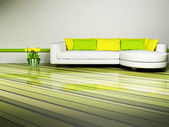 Bright interior desing of living room — Stock Photo