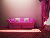 Modern interior design of living room with a nice sofa and a wi — Stock Photo