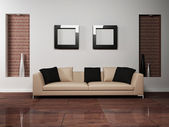 Modern interior design of living-room with a nice sofa — Stock Photo
