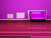 Interior design scene with a nice pink armchair — Stock Photo