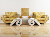 Interior design scene with two armchairs and the tables — Stock Photo