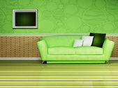 Modern inredning av vardagsrum — Stockfoto