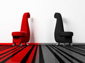Interior design scene with the red and black armchairs — Stock Photo