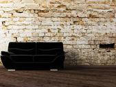 Interior design scene with the black sofa — Stock Photo