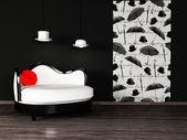 Diseño interior moderno con un sofá blanco — Foto de Stock
