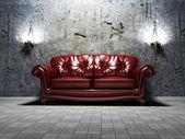 Interior design scene with a classic royal sofa — Stock Photo