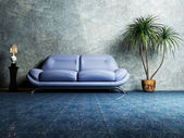 Modern interior design of living room with a blue sofa — Stock Photo