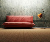 Interior design scene with a sofa and a floor lamp — Stock Photo