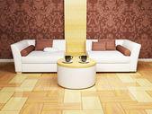 Salon, modern iç mekan tasarımları — Stok fotoğraf