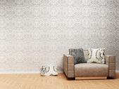 Interior design scene with a nice armchair — Stock Photo