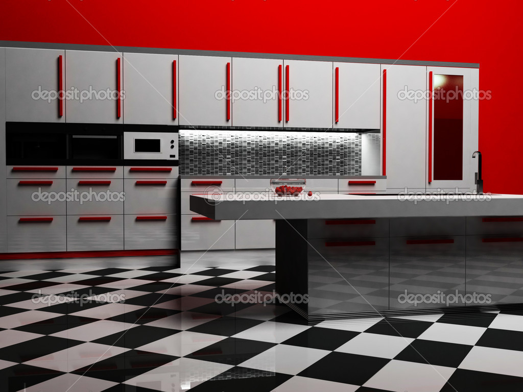 Modernt kök inredning i vit och röd färg — stockfotografi ...