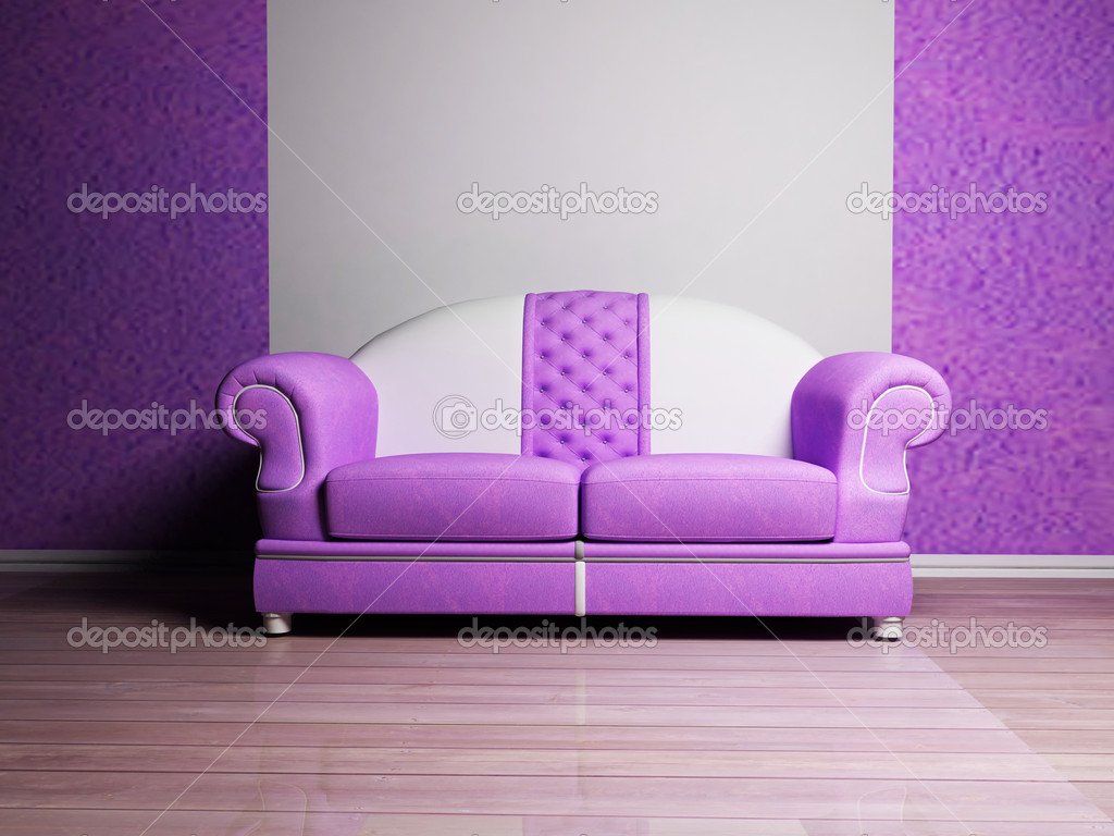 Modern interior design with a white and violet sofa Stock Photo