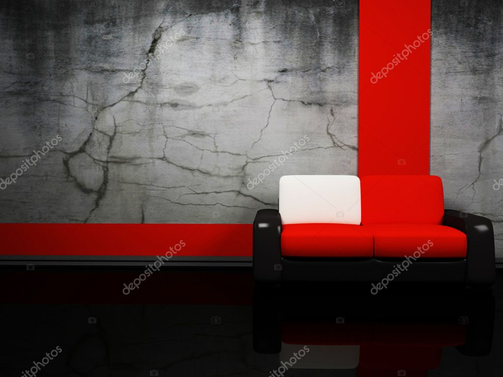 Interior Design With A Red And Black Sofa Stock Photo